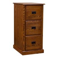 Amish Mission 3-Drawer File Cabinet, Red Oak