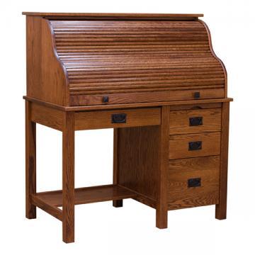 "44"" Roll Top Mission Desk - Red Oak"