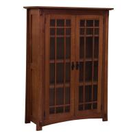 "38"" Amish Mission Bookcase w/Waterfall Glass Doors"