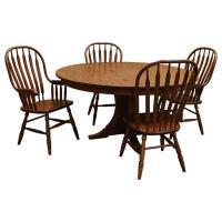 """60"""" Amish Mission Round Dining Set-4 w/ 1-Leaf"""