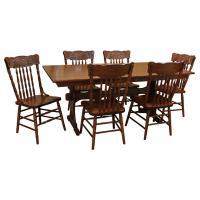 """42"""" x 72"""" Amish Trestle Dining Table Set-6"""