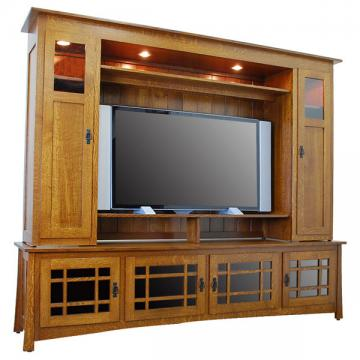 "Amish 96"" Craftsman Entertainment Center"